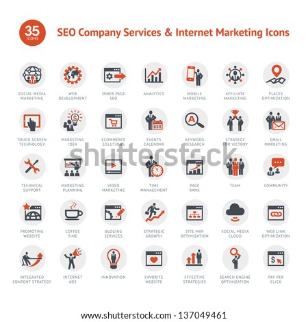 Set of SEO and Marketing icons  - stock vector