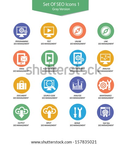 Set Of SEO icon 1,Colorful version,vector - stock vector