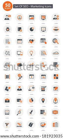 Set Of SEO,Marketing Icons,Orange version,vector - stock vector