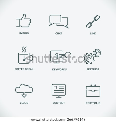 Set of seo service symbols, website search engine optimization. Modern line SEO icons. Content and cloud, link and keyword, chat and rating. Vector illustration - stock vector