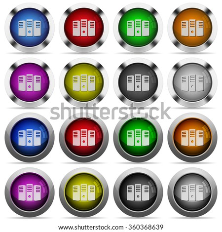 Set of Server hosting glossy web buttons. Arranged layer structure. - stock vector