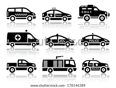 Set of service automobiles black icons with reflection, vector illustrations - stock vector