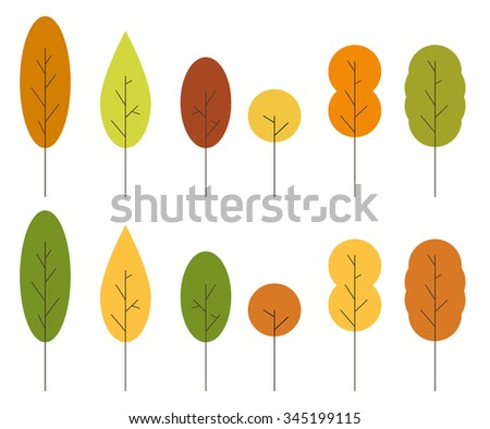 Set of 12 (2 sets of 6 unique) isolated minimalist trees in autumn colors - stock vector