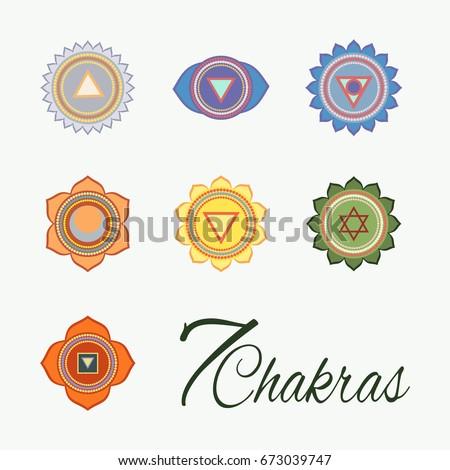 Set Seven Chakras Icons Yogameditation Energy Centers Stock Vector