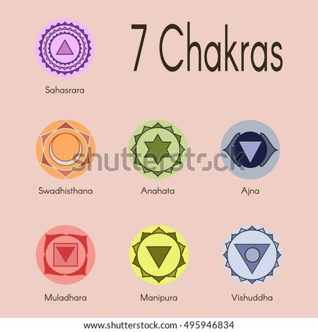 Set Seven Chakras Icons Yogameditationreikiayurveda Buddhism Vector