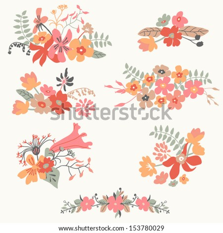 Set of seven cute floral bouquets, bunch of flowers. Hand drawn retro graphic set.Vector illustration. - stock vector