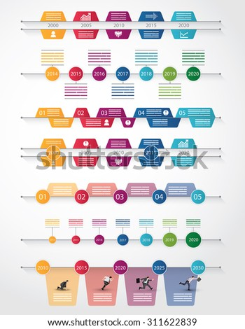 Set of seven different timeline for infograpics, brochures and online use - stock vector