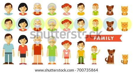 set seven family members flat style stock vector 700735864