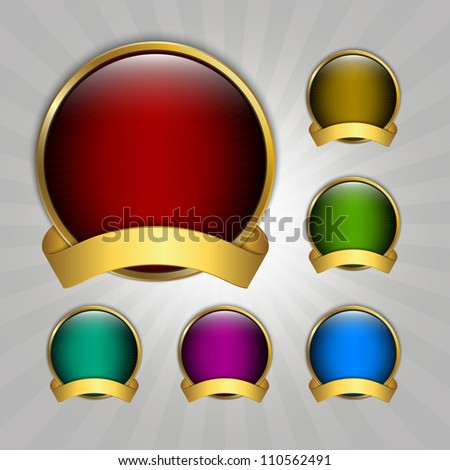 Set of seven round vector guarantee medals - stock vector
