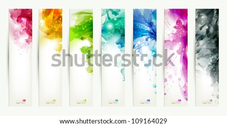 set of seven varicolored banners, abstract headers with blots - stock vector