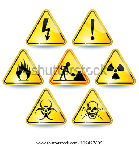 Set of seven yellow warning signs - stock vector