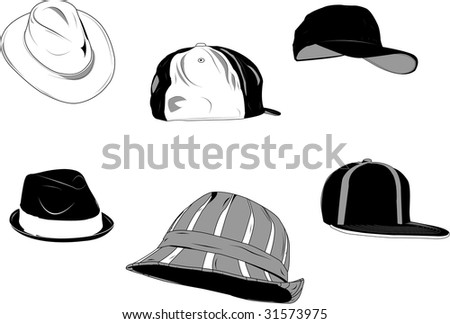 Set of several type of hats for men, new and old. - stock vector