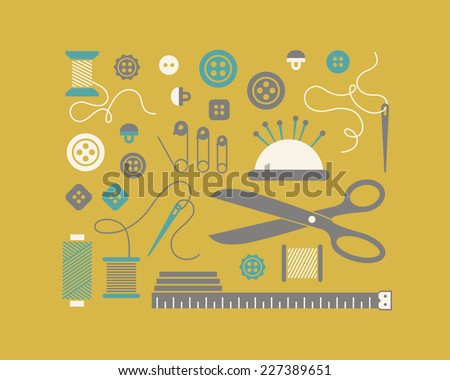 Set of sewing and needlework icons. - stock vector
