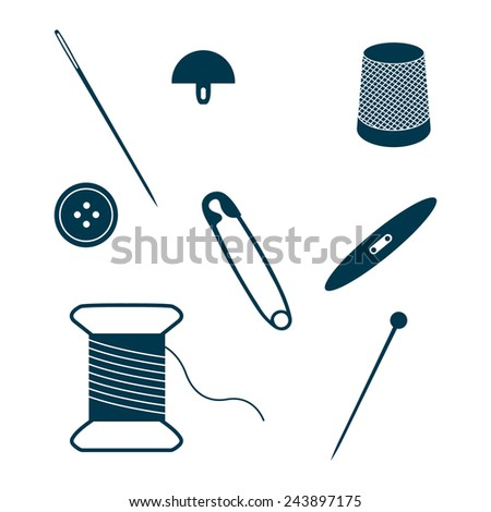 Set of sewing and needlework icons isolated on white background. Collection of design elements. Vector illustration.