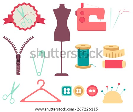 Set of sewing tools and accessories. Collection of design elements. Vector illustration  - stock vector