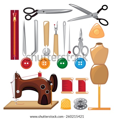 Set of sewing tools and equipment. - stock vector