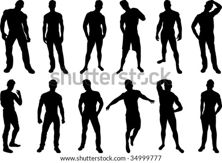 Set of 12 sexy men silhouettes on white background - stock vector