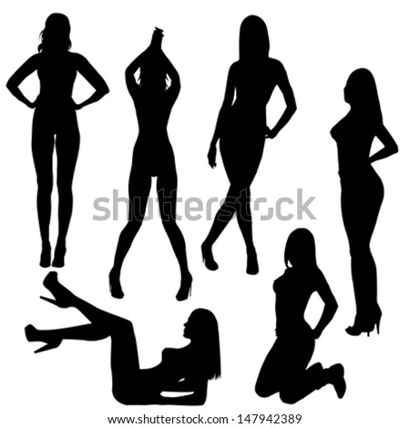 Set of sexy naked women silhouettes - stock vector