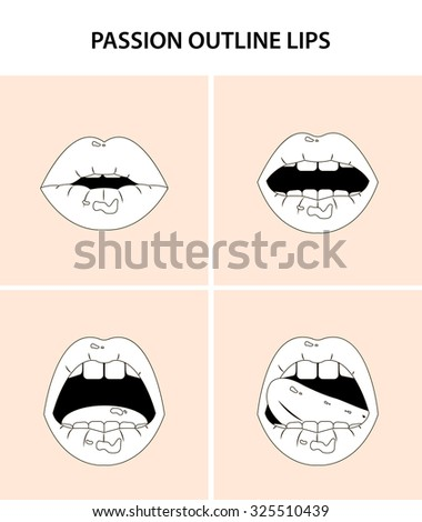 Set of 4 sexy open mouths, tongue hanging out, outline erotic seductive lips, passion - stock vector