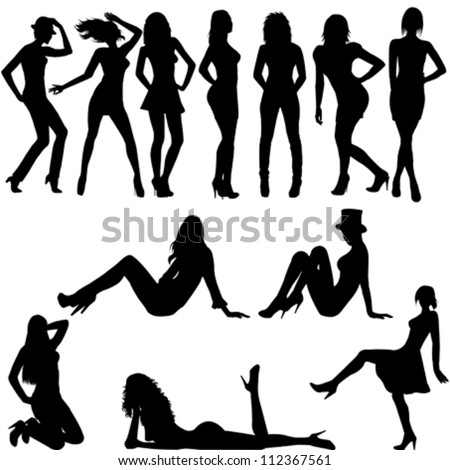 Set of sexy women silhouettes - stock vector