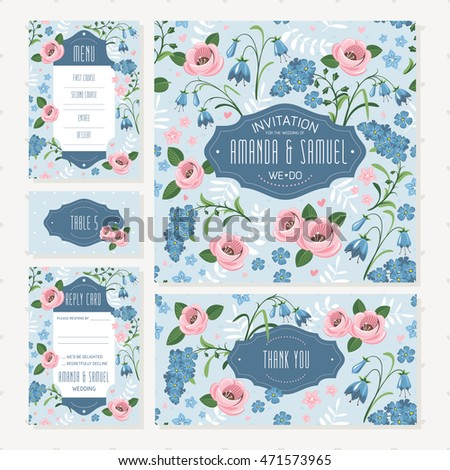Set of shabby chic style wedding cards. Wedding invitation, Thank you card, Table card, RSVP card and Menu.