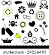Set of Shapes - Skulls, Crowns, Abstract, Birds, Flowers etc... - stock vector