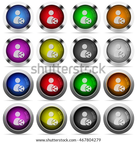 Set of Share user data glossy web buttons. Arranged layer structure.