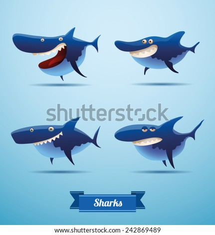 set of sharks, vector - stock vector