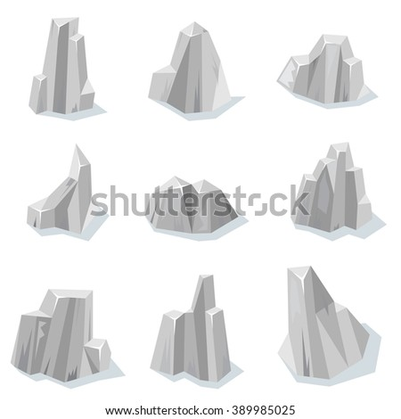 Set of sharp rocky gray stones isolated with shadow for video game - stock vector