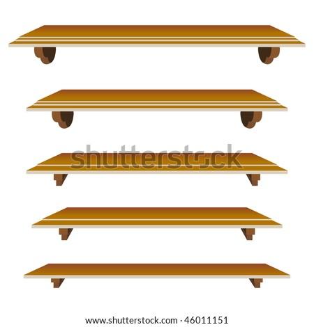 set of shelf in vector mode for decor - stock vector