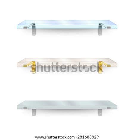 Set of shelves. Two different glass shelves and one opaque. Vector illustration. - stock vector