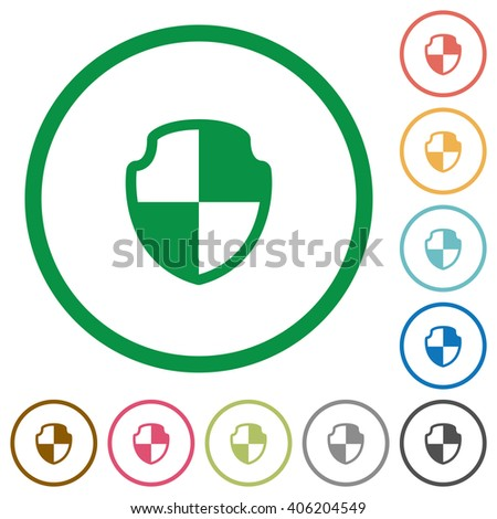 Set of shield color round outlined flat icons on white background - stock vector