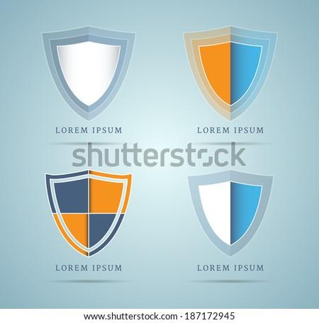 Set of shield design elements, logo inspired. EPS10. - stock vector