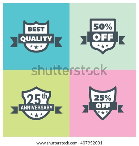 Set Shield Different Design Best Quality Stock Vector HD Royalty - Best of free clip art 50th anniversary design