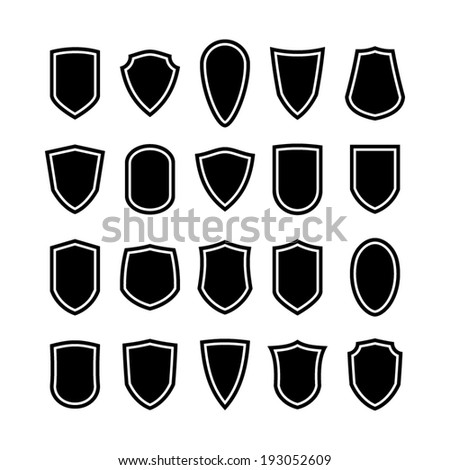 Set of shield icons - stock vector