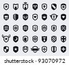 Set of 35 shield icons with various medieval and modern symbols - stock