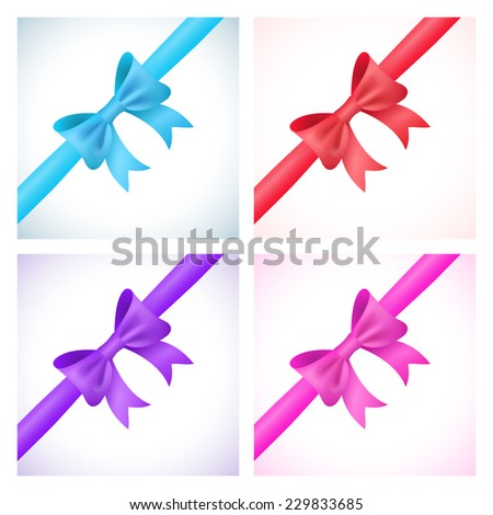 Set of shiny bow and ribbon on white background. Vector illustration for your holiday gift design. Blue, red, purple and pink colors. - stock vector