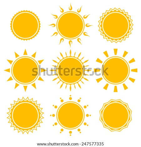 set of shiny bright yellow sun isolated on white background. vector illustration - stock vector