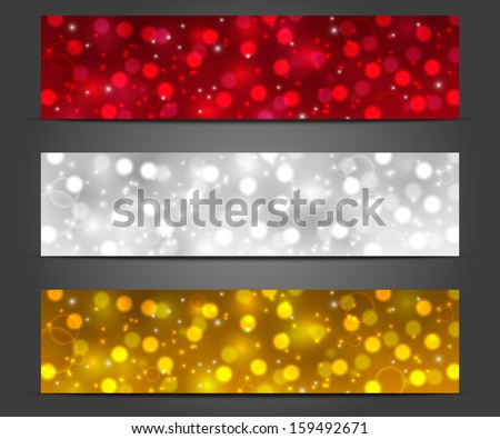 Set of shiny Christmas banners - stock vector