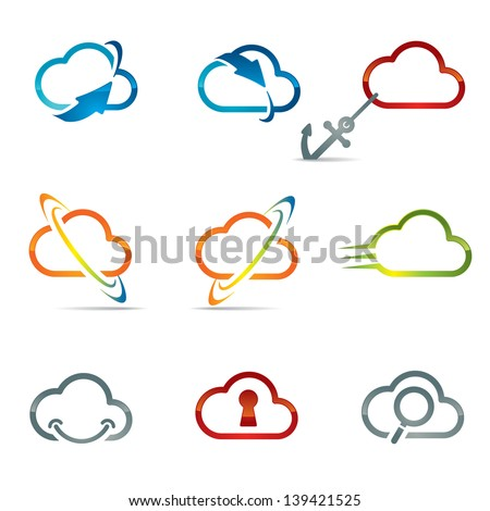 Set of shiny cloud icons related with cloud computing and networking - stock vector
