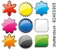 Set of shiny colorful glass buttons, vector illustration - stock photo