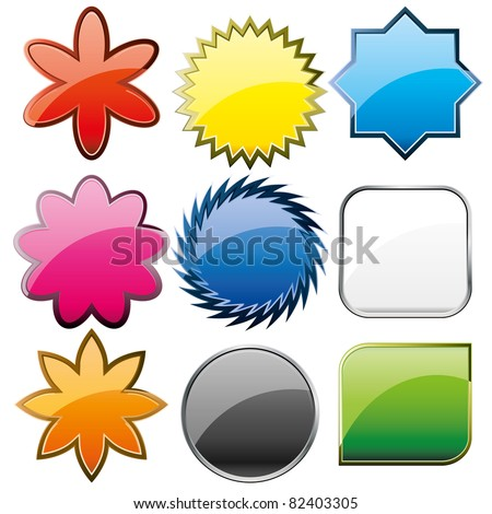 Set of shiny colorful glass buttons, vector illustration - stock vector