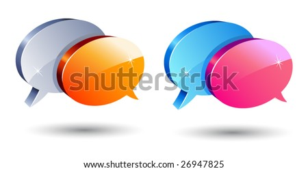 set of shiny communication balloons - stock vector