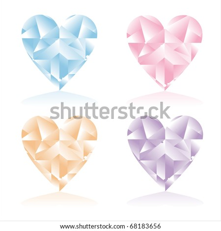 set of 4 shiny diamonds