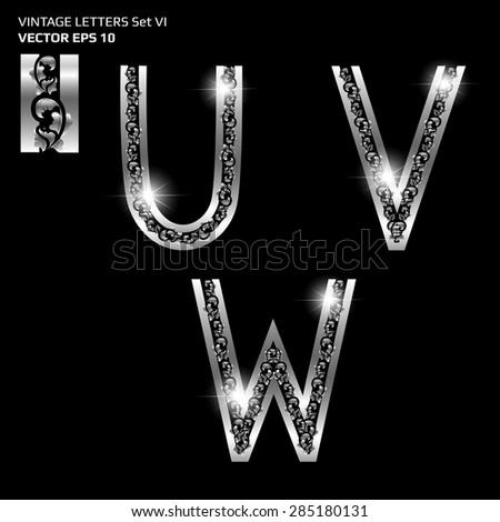 set of shiny flora vintage metallic letter U V W, thai flower ornament alphabet, vector illustration. - stock vector