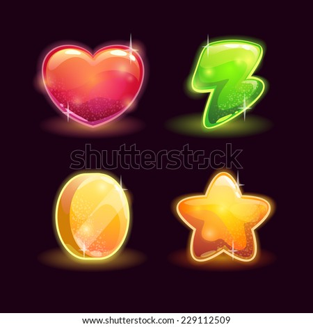 Set of shiny game resources. Lives, energy, coins and star icons on the dark background - stock vector