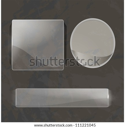 Set of shiny glass labels - stock vector
