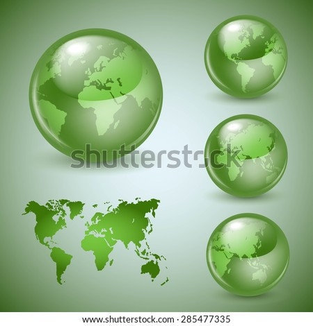 Set of shiny glass world globes - stock vector