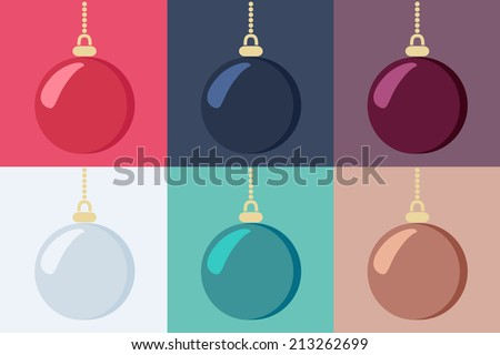 Set of shiny hanging Christmas baubles in six different color variants, vector illustration - stock vector