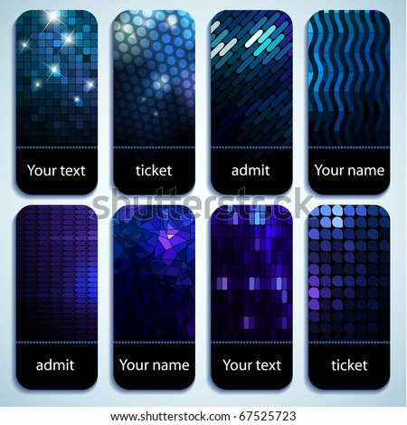Set of shiny mosaic tickets with space for Your text - stock vector